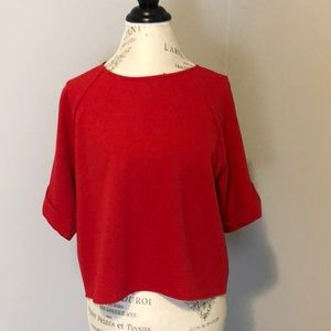 Everly Flutter Sleeve Loose Red Blouse Small